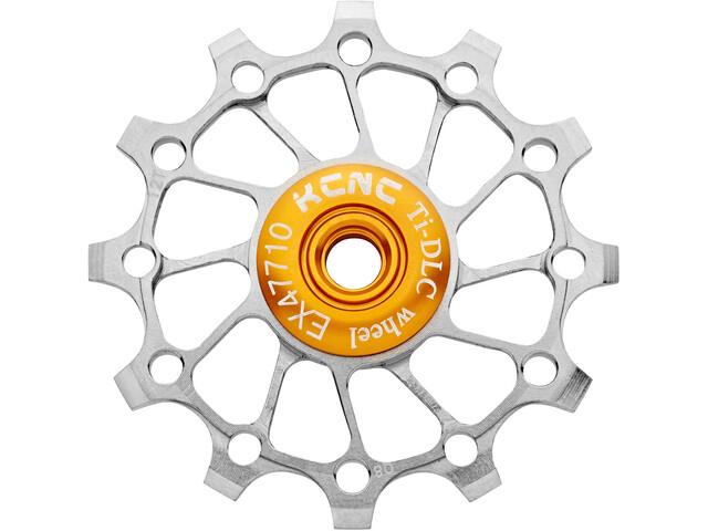 KCNC Jockey Wheel Titan 12 Teeth Narrow Wide Full Ceramic Bearing, silver
